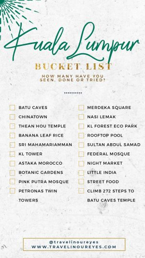Kuala Lumpur Bucket List Template