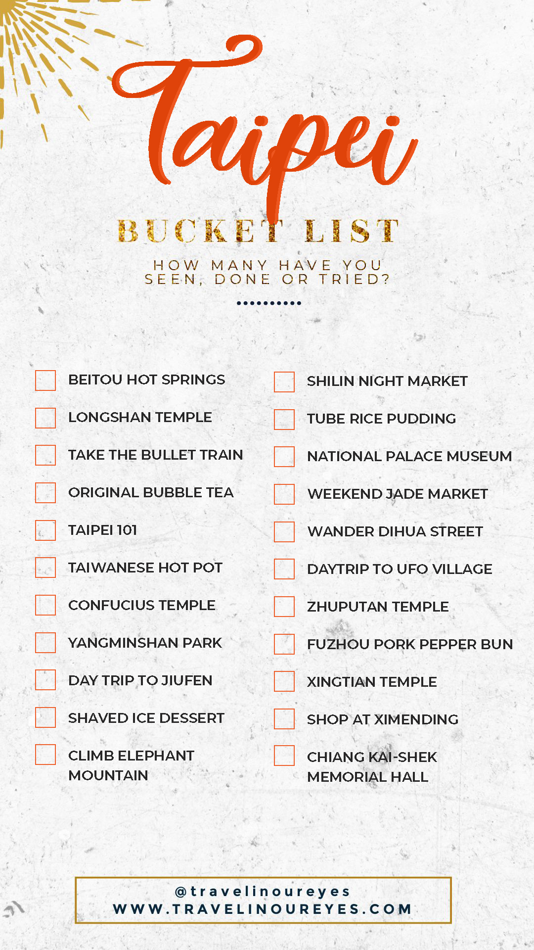 Taipei Bucket List